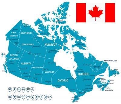 Kanada mapa, flaga i nawigacja labels.highly szczegółowe ilustracji wektorowych. Obraz zawiera kontury ziemi, nazwy krajów i gruntów, nazwy miast, flaga, ikony nawigacyjne.