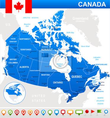 Plakat Kanada mapa, flaga i nawigacji ikony. Obraz zawiera kolejnych warstw. Istnieje kontury ziemi, nazwy kraju i lądowe, nazwy miasta, nazwy obiektów wody, flagi, ikony nawigacyjne.