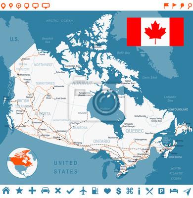 Kanada mapy, flagi, etykiety nawigacji, drogi. Bardzo szczegółowe ilustracji wektorowych.