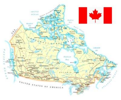 Kanada - Szczegółowa mapa - ilustracji. Mapa zawiera topograficznych kontury i nazwy, kraju, miasta, ziemi obiekty wodne, drogi, koleje.