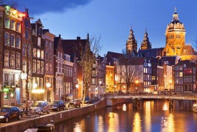 Plakat Kanał w Amsterdamie, Holandia w nocy