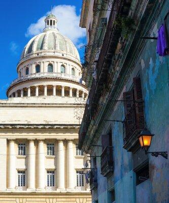 Plakat Kapitol w Hawanie i budynek rozpada