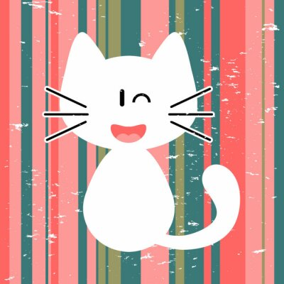Plakat Karta Vector z cute biały kotek
