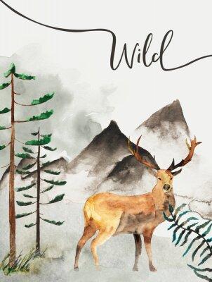 Plakat Kartkę z życzeniami z tłem lasu i gór. Motyw dziecięcy. Pocztówka z jeleniem. Dzikiej przyrody