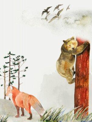 Plakat Kartkę z życzeniami z tłem lasu i gór. Motyw dziecięcy. Pocztówka z niedźwiedziem i lisem. Dzikiej przyrody