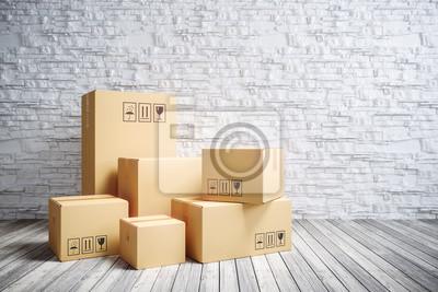 Plakat Kartonowe pudełka w nowym domu.
