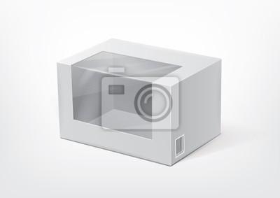 Kartonowe pudełko z przezroczystym okienkiem z tworzywa sztucznego dla nowego projektu.