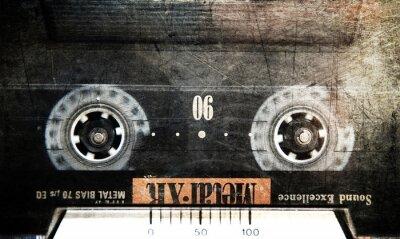 Plakat Kaseta grunge w magnetofonie, bliska