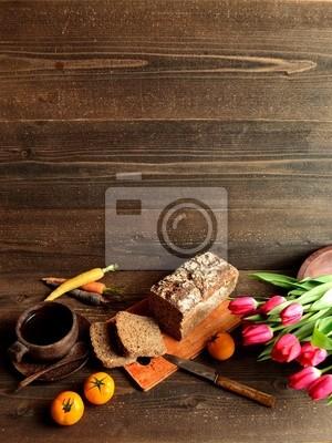 Plakat Kawa, czarny chleb z tulipanów
