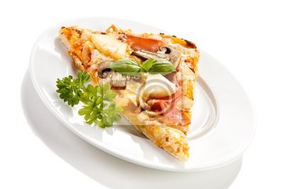 Plakat Kawałek pizzy na białym tle