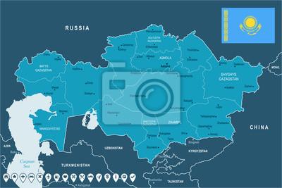 Plakat Kazakhstan - map and flag - Detailed Vector Illustration