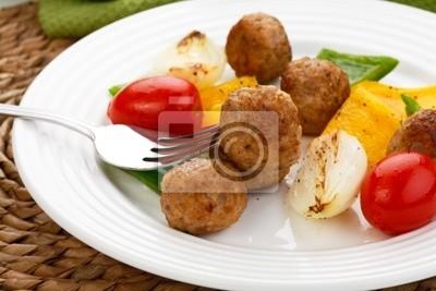 Plakat Kebab Kolacja - mięso z grilla z warzywami