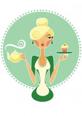 Plakat Kelnerka gospodarstwa czajnik i ciastko