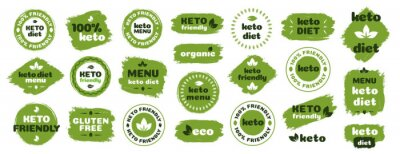 Plakat Keto friendly diet nutrition vector badge set on green organic texture isolated on white-ketogenic diet sign, keto diet menu. Vegetables icon eco friendly diet with leaves. 10 eps