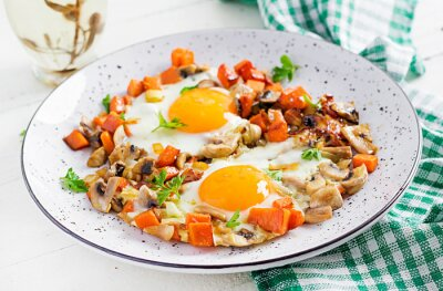 Ketogenic food. Fried egg, mushrooms and sliced pumpkin. Keto, paleo breakfast.