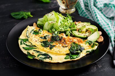 Ketogenic, paleo diet breakfast. Omelette with spinach and avocado, cucumber.