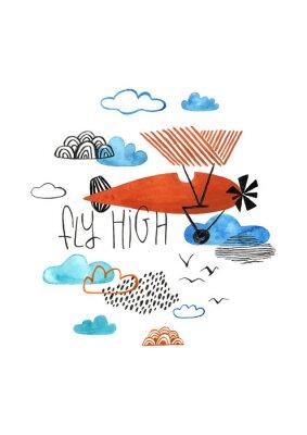 Plakat Kids Gouache Painted Airplane Illustration