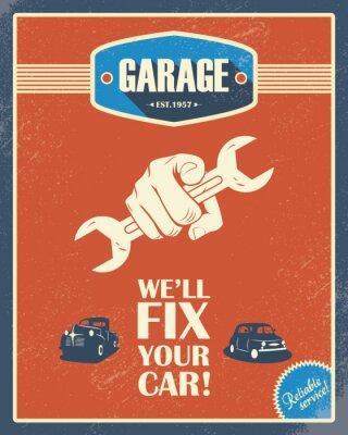 Plakat Klasyczne garaż plakatu. Samochody zabytkowe. Wzór stylu retro. Grunge