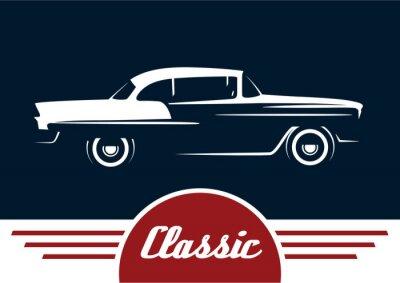 Plakat Klasyczny reto samochód - pojazd Vintage sylwetka. Wektor projektu