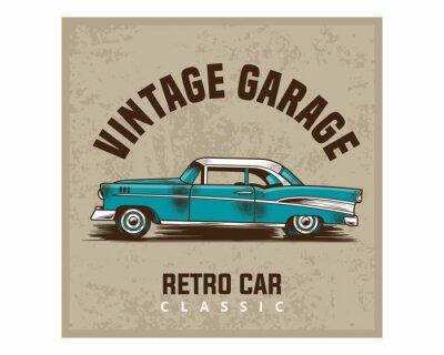 Plakat klasyczny rocznik garaż retro samochód klasyczny obraz plakat