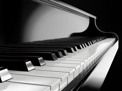 Plakat klawisze fortepianu na czarnym fortepianie