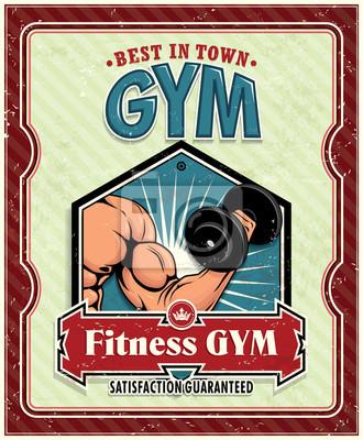 Klub fitness w stylu vintage plakat