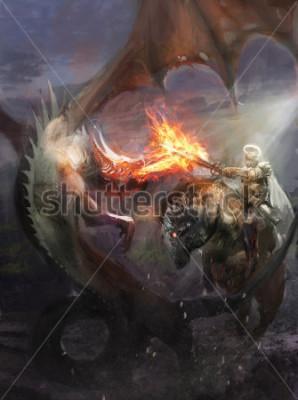 Plakat knight fighting dragon who breath fire