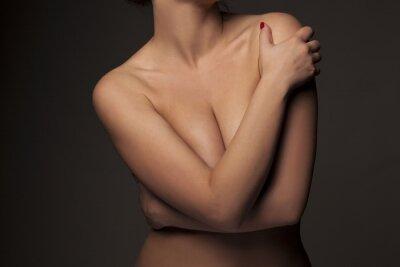 Plakat kobiet tułowia z rąk obejmujących piersi
