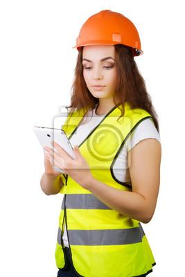 Plakat Kobieta budowniczy w kasku i elektronicznego w rękach tablet