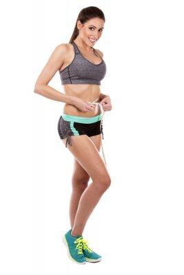 Plakat kobieta fitness na białym tle
