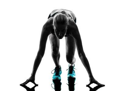 Plakat Kobieta jogging biegacz biegacz sylwetka