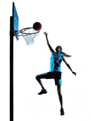 Plakat Kobieta koszykarz sylwetka