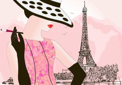 Plakat kobieta mody w Paryżu