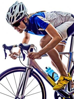Plakat Kobieta triathlon sportowiec rowerzysta na rowerze
