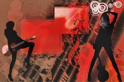 Plakat Kobieta z gitara sylwetka na tle grunge