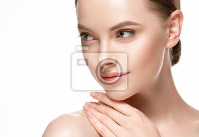 Plakat Kobiety beautifl piękna twarz z zdrową skórą, piękno wargami i oczami