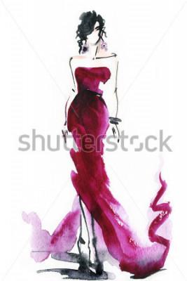 Plakat kobiety z eleganckimi bukietami .abstract akwarela .fashion tło