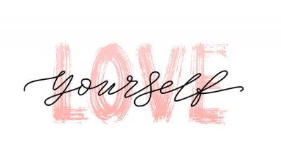 Plakat Kochaj siebie, cytuj. Pojedyncze słowo. Nowożytna kaligrafia teksta druku Wektorowa ilustracja czarny i biały. ego