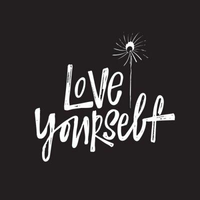 Plakat Kochaj siebie. Strony napis cytat z ilustracją streszczenie mniszek lekarski.