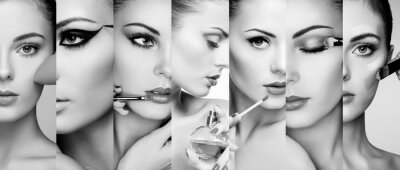 Plakat kola Beauty. Twarze kobiet. Fotografia mody. Wizażystka stosuje szminka i cień do oczu. Kobieta stosowania perfum