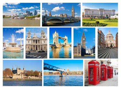 Plakat Kolaż z londyńskich zabytków