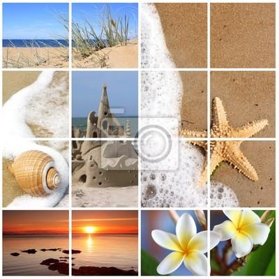 Plakat Kolaż zdjęć plaży latem . Plik XL .