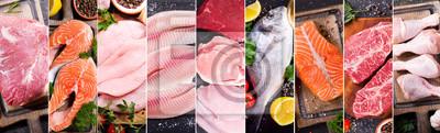 Plakat kolaż żywności różnych świeżego mięsa, kurczaka i ryb
