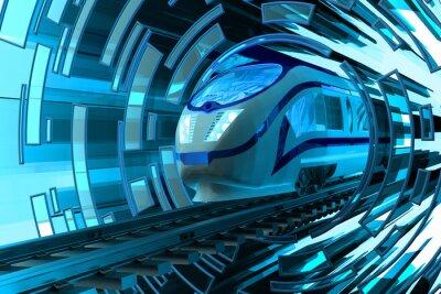 Plakat Kolej koncepcji transportu, szybki ruch nowoczesny z dużą prędkością pociągu pasażerskiego na tory na streszczenie niebieskim okrągłym tle