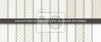 Plakat Kolekcja bez szwu wzorów ozdobnych wektorowych. Siatka geometryczna orientalna.