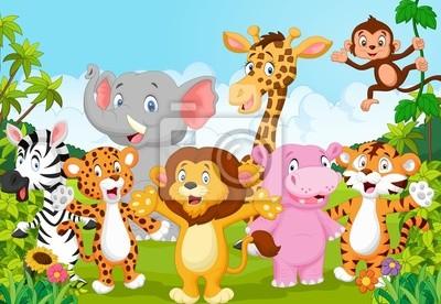 Plakat Kolekcja Cartoon zwierząt w dżungli Afryki
