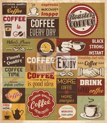 Plakat Kolekcja elementów Kawy.