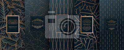 Plakat Kolekcja elementów projektu, etykiety, ikona, ramki, do pakowania, projektowania luksusowych products.for perfumy, mydło, wino, balsam. Wykonane ze złotej folii. Na białym tle na ilustracji background