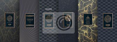 Plakat Kolekcja elementów projektu, etykiety, ikona, ramki, do pakowania, projektowanie luksusowych produktów. na perfumy, mydło, wino, balsam. Wykonane ze złotej folii. Na białym tle na złotą i brązową back