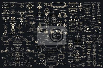 Plakat Kolekcja Mega wyciągnąć ręcznie wektor rozkwitł do projektowania